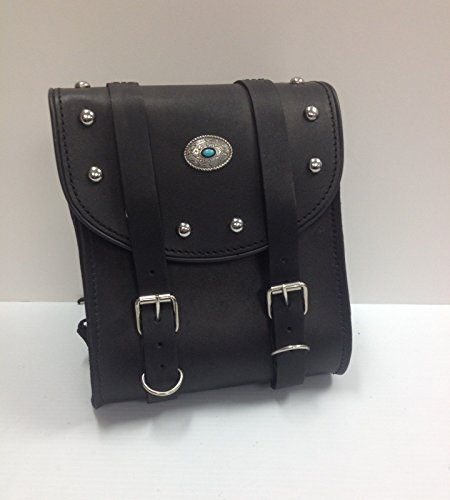 Bikers Shield Motorcycle Sissy Bar Bag with Studs Oval Mesa Concho 8x9x4